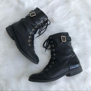Guess Moto Combat Boot Black Leather Gold Hardware